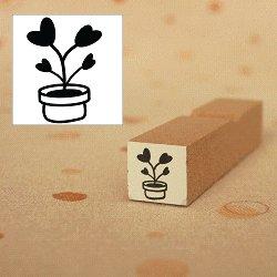 画像1: ハート植木鉢 家族 黒スタンプ