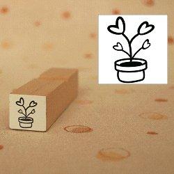 画像1: ハート植木鉢 家族 白スタンプ
